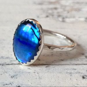 sterling silver blue abalone ring ✨